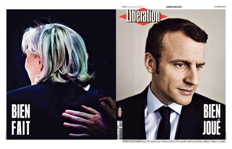"""A cobertura do jornal Libération desta segunda-feira, traz na capa foto do E. Macron com a expressão """"Bem jogado"""" e na última página M. Le Pen com a expressão """"Bem feito""""."""