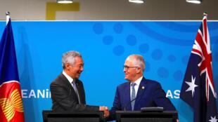 Họp báo kết thúc thượng đỉnh ASEAN-Úc tại Sydney. Thủ tướng Singapore Lý Hiển Long, chủ tịch luân phiên ASEAN và thủ tướng Úc Malcolm Turnbull