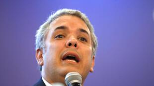 El candidato presidencial de derecha Iván Duque habla en un evento en Bogotá, Colombia, el 29 de mayo de 2018.