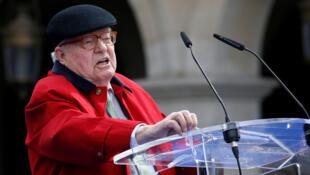 Jean-Marie Le Pen publie le 1er tome de ses mémoires «Fils de la Nation». Ici, le fondateur du Front national durant les cérémonies du 1er-Mai 2017 à Paris.