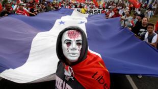 Manifestation de l'opposition en soutien à Salvador Nasralla, battu au second tour de l'élection présidentielle, San Pedro Sula, le 6 janvier 2018.