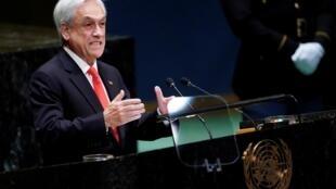 el presidente chileno, Sebastián Piñera, durante su discurso en la Asamblea General de las Naciones Unidas. Nueva York, 24 de septiembre de 2019.