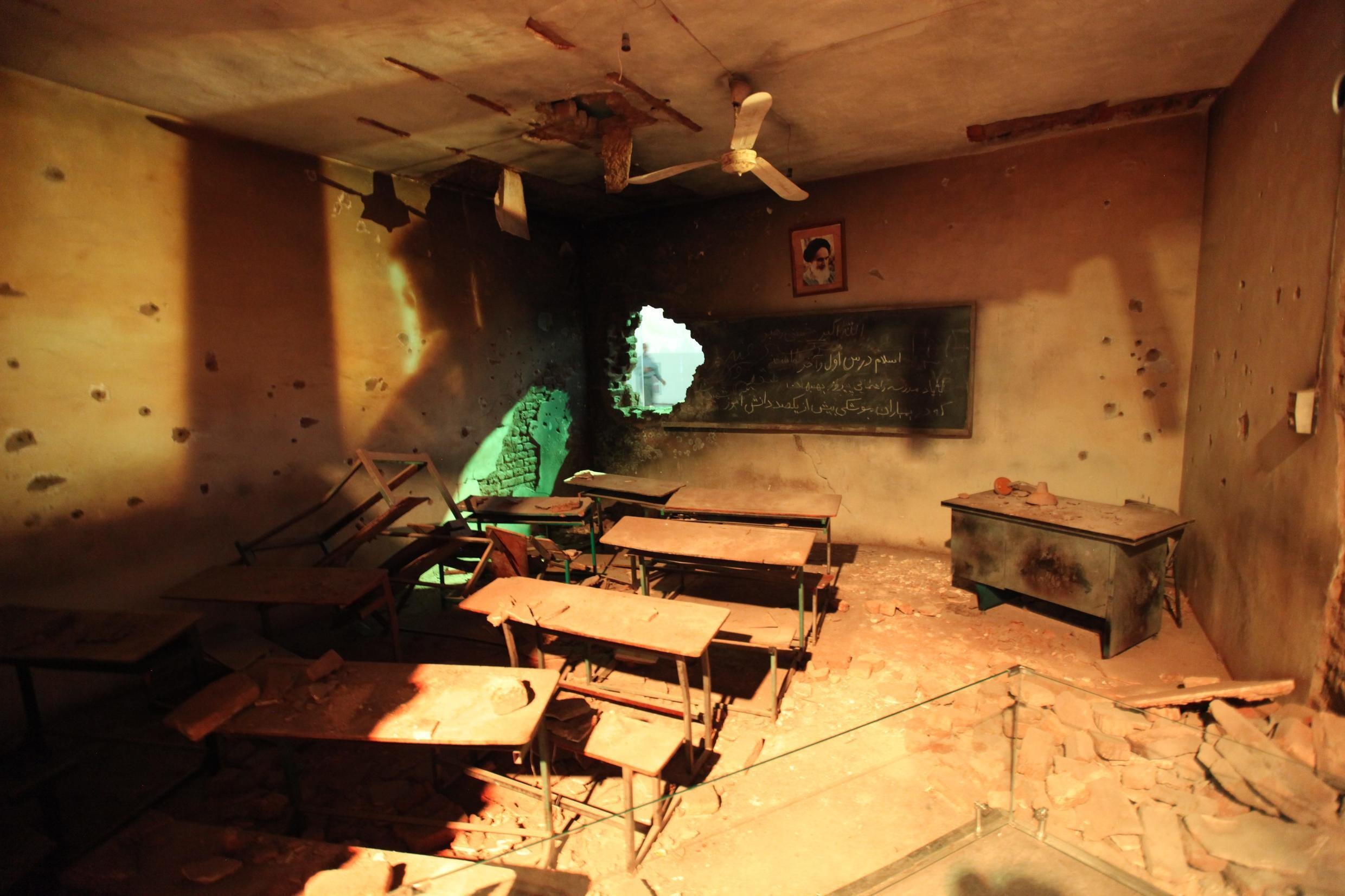 Simulation of classroom after a bombing campaign