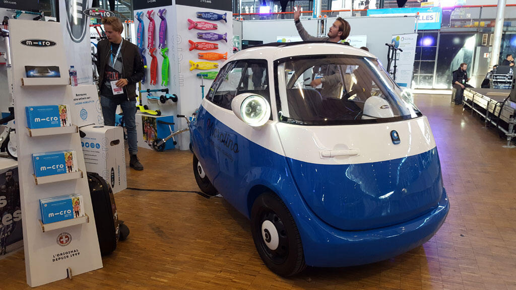 La petite voiture Microlino au salon Autonomy.