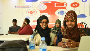 At the co-working space of iRise Hub in Mogadishu where tech-savvy youth interact