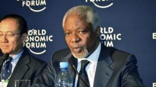 Kofi Annan, président de l'Alliance pour une révolution verte en Afrique donne une conférence de presse durant le Forum économique mondial pour l'Afrique à Addis Abeba, le 10 mai 2012.