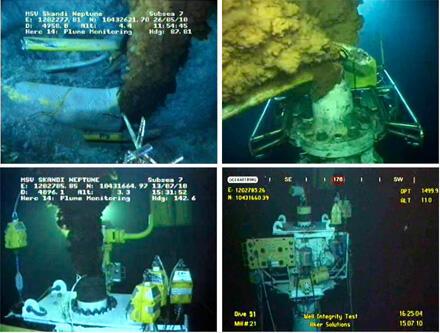 Imagens captadas por vídeo mostram o sistema de contenção instalado pela BP no local do vazamento, no Golfo do México.