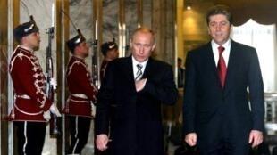 Russian President Vladimir Putin and Bulgarian President Georgy Parvanov
