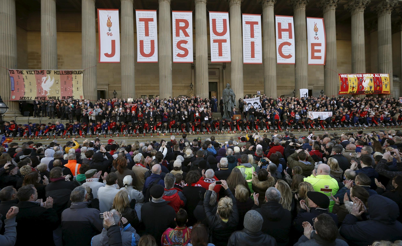 Ceremonia de homenaje a las 96 víctimas de la tragedia de Hillsborough, el 27 de abril de 2016 en Liverpool.