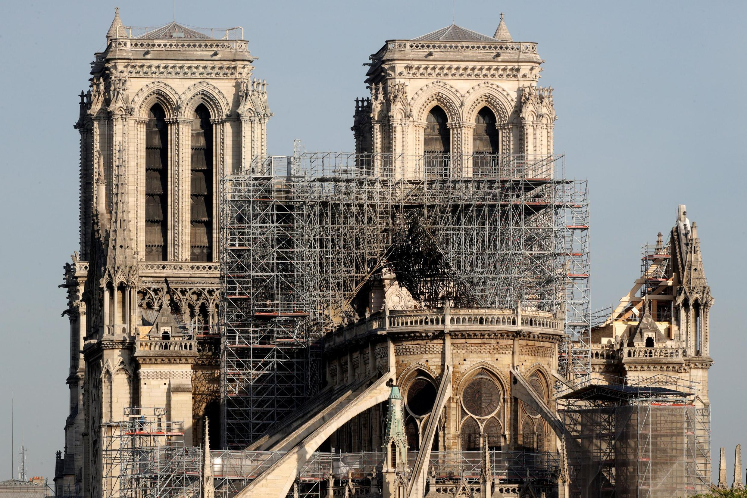View of the rear of Notre-Dame Cathedral after a massive fire devastated large parts of the gothic structure in Paris, 19 April 2019.