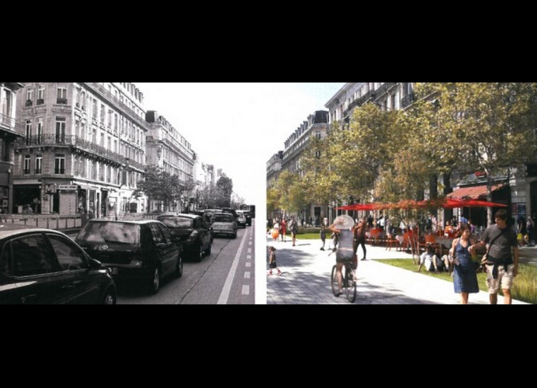 Projeto que transformou  área do centro histórico de Bruxelas em zona só para pedestres.