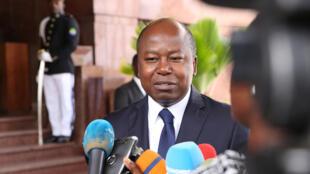 Alain-Claude Bilie By Nzé, ministre gabonais des Affaires étrangères, en 2018 à Libreville.