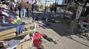 La escena del doble atentado suicida en Bagdad, en Irak, el 21 de enero de 2021