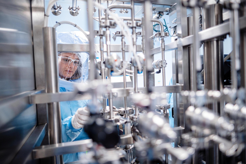 在德國法蘭克福以北約90公里處Marburg生產的Pfizer-BioNTech 疫苗。