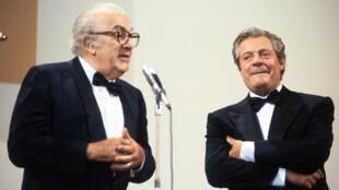 Federico Fellini et Marcello Mastroianni en 1990, à la Mostra de Venise, 30 ans après «La Dolce Vita».