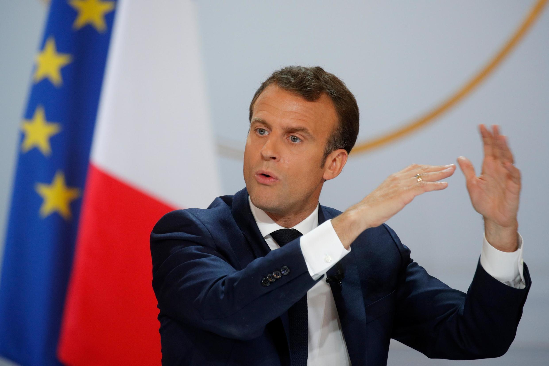 Tổng thống Pháp Emmanuel Macron trong cuộc họp báo tại điện Elysée, Paris, ngày 25/04/2019.