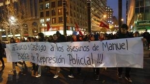 Protestors lined the streets in support of a teenage boy shot during demonstrations in Santiago