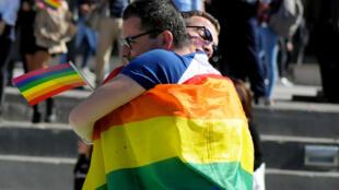 Ảnh chụp tại Lễ hội Pride Parade dành cho cộng đồng LGBT lần thứ hai tại Pristina, Kosovo, ngày 10/10/2018.