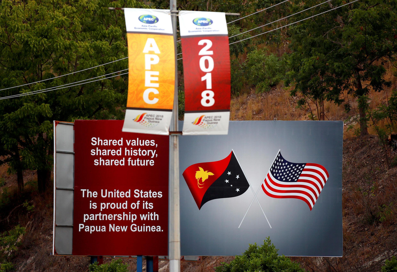 APEC論壇結束後,巴布亞新幾內亞街頭上的廣告牌 2018年11月19日