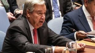 Le secrétaire général des Nations unies António Guterres, en août 2018 au siège de l'ONU, pour une réunion sur la Birmanie.