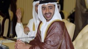 Ministro das Relações Exteriores dos Emirados Árabes Unidos, Abdullah Bin Zayed Al Nahyan, durante cúpula do Golfo para discutir crise política no Iêmen.