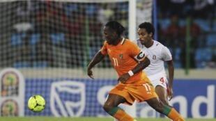 L'Ivoirien Didier Drogba a inscrit un doublé contre la Guinée équatoriale, le 4 février 2012.