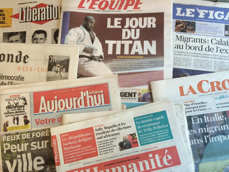 Primeiras páginas dos diários franceses 12/08/2016