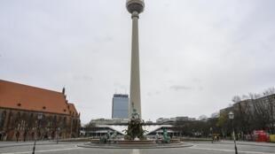 Vue du centre-ville de Berlin vide en pleine pandémie de Covid-19 le 20 mars 2020.