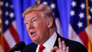 Donald Trump durante coletiva de imprensa dessa quarta-feira, 11 de janeiro de 2017.