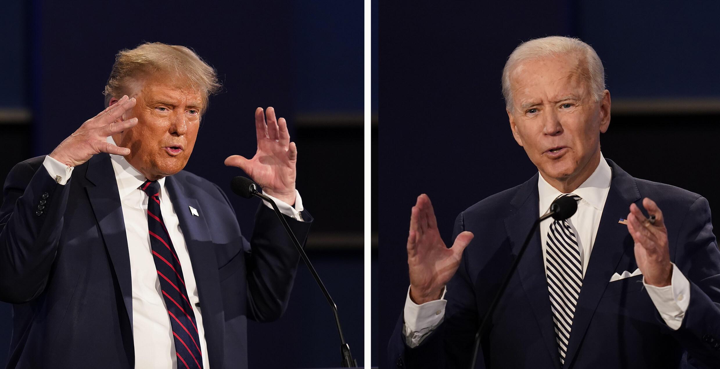 Le président des États-Unis Donald Trump, à gauche, et l'ancien vice-président Joe Biden lors du premier débat présidentiel, mardi 29 septembre 2020, à la Case Western University et à la Cleveland Clinic, à Cleveland, Ohio.