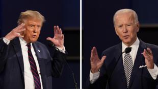 Photo montage du président Donald Trump, à gauche, et l'ancien vice-président Joe Biden lors du premier débat présidentiel, le mardi 29 septembre 2020, à la Case Western University et à la Cleveland Clinic, à Cleveland, Ohio.