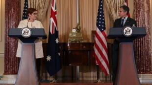 美國國務卿布林肯與澳大利亞外交部長佩恩資料圖片