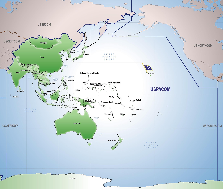 Bản đồ khu vực do Bộ Tư Lệnh Thái Bình Dương của Mỹ USPACOM chịu trách nhiệm.