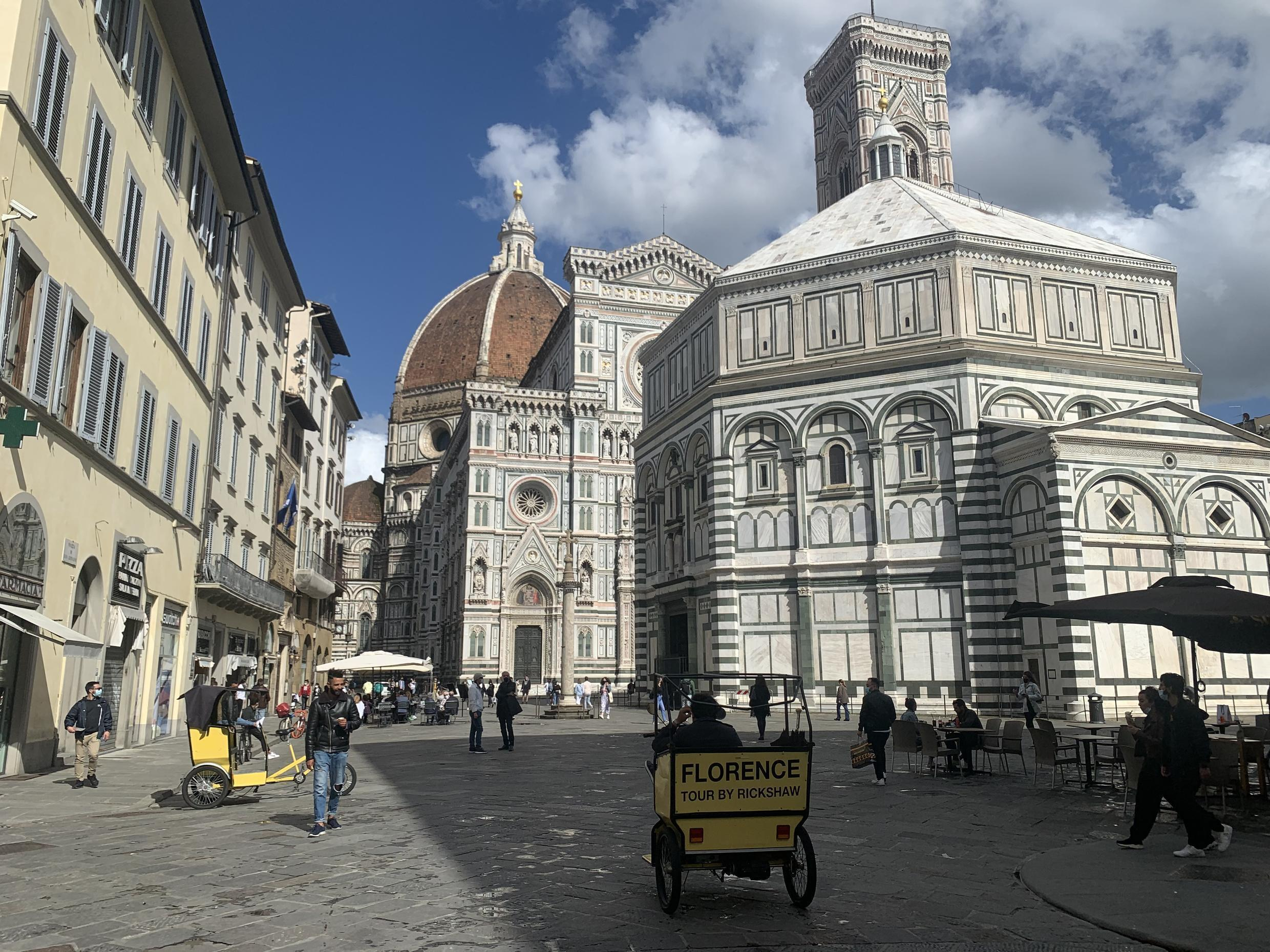 Streets of Florence, Italy prepare for the return of foreign tourists for the 2021 summer season.