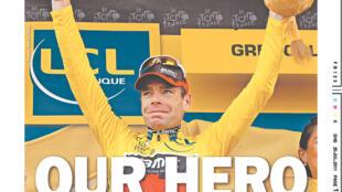 """""""Notre héros"""", titrait le Herald Sun pour Cadel Evans, premier australien à remporter le Tour de France."""