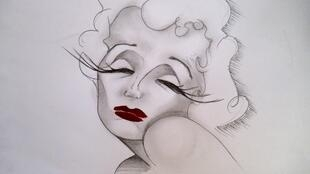 Dessin réalisé à partir de «Ecouter Paris avec Édith Piaf».