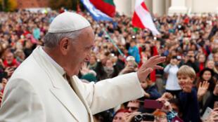 Papa Francisco na Sé de Vilnius, Lituania, a 22 de Setembro de 2018.