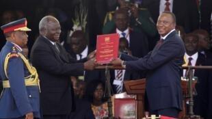 Cérémonie d'investiture d'Uhuru Kenyatta à la présidence de la République du Kenya à Nairobi, ce mardi 9 avril 2013.