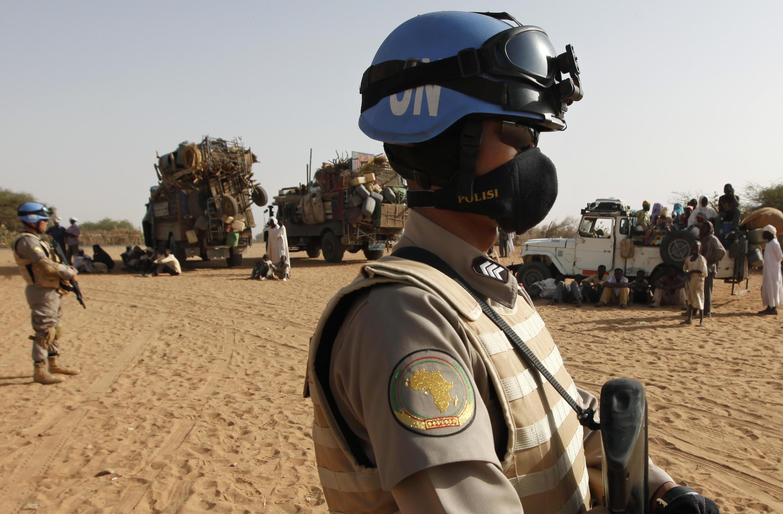 Patrouille de casques bleus à El Fasher, au Soudan. (Image d'illustration)