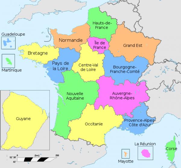 A França está atualmente dividida em 18 regiões, das quais 13 na França Metropolitana e 5 nos territórios franceses ultramarinos.