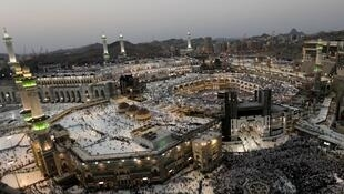Muslims pray at the Grand mosque during the annual Hajj pilgrimage in Mecca, Saudi Arabia.