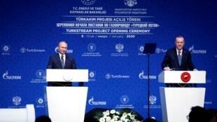 Владимир Путин и Реджеп Тайип Эрдоган на встрече в Стамбуле, 8 января 2020 года