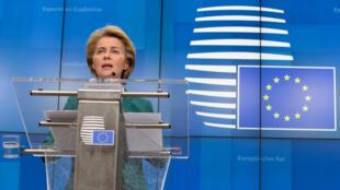 Chủ tịch Ủy Ban Châu Âu Ursula von der Leyen họp báo tại Bruxelles (Bỉ) ngày 16/03/2020 sau cuộc họp của nhóm G7.
