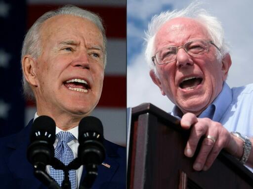 Joe Biden (esquerda) e Bernie Sanders (direita), os dois protagonistas do duelo democrata em curso nos Estados Unidos.