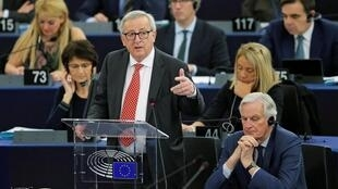 Jean-Claude Juncker addresses the European parliament in Strasbourg, April 16th, 2019