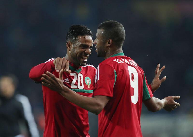 Festejos dos jogadores marroquinos após mais uma vitória que lhes permitiu chegar às meias-finais.