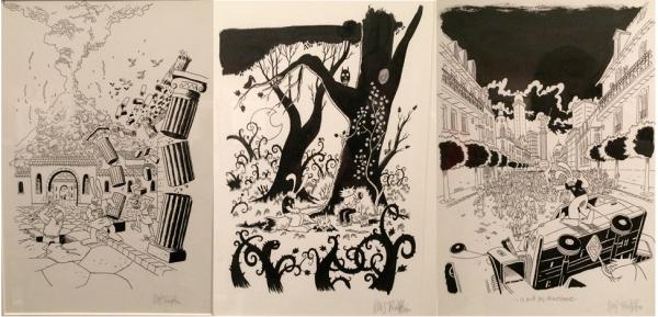 Couverture de trois albums inexistants de Lapinot par Lewis Trondheim. Exposition « Lewis Trondheim fait des histoires », Musée de la bande-dessinée