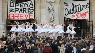 Dancers from Opera Garnier in Paris, performing Swan Lake as part of the pension reform protests, December 2019.