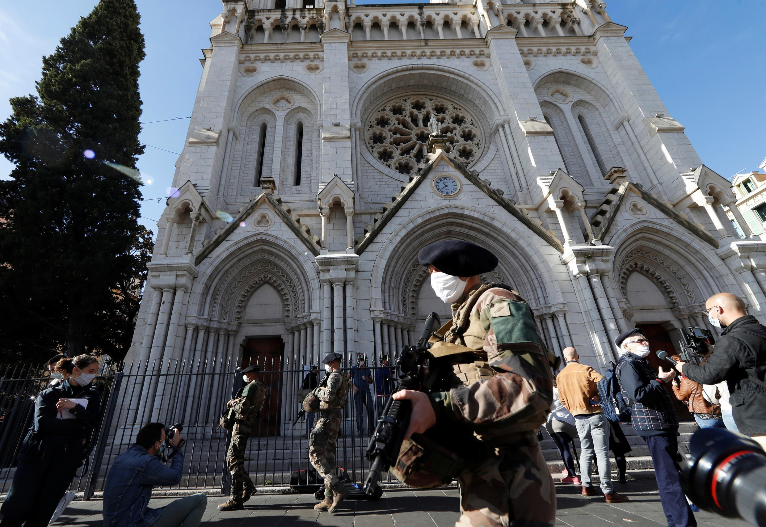 French soldiers patrol near the Notre Dame church the day after a deadly knife attack in Nice, France, October 30, 2020.