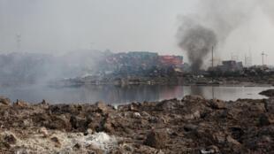 Nhà máy Thiên Tân sau vụ nổ.